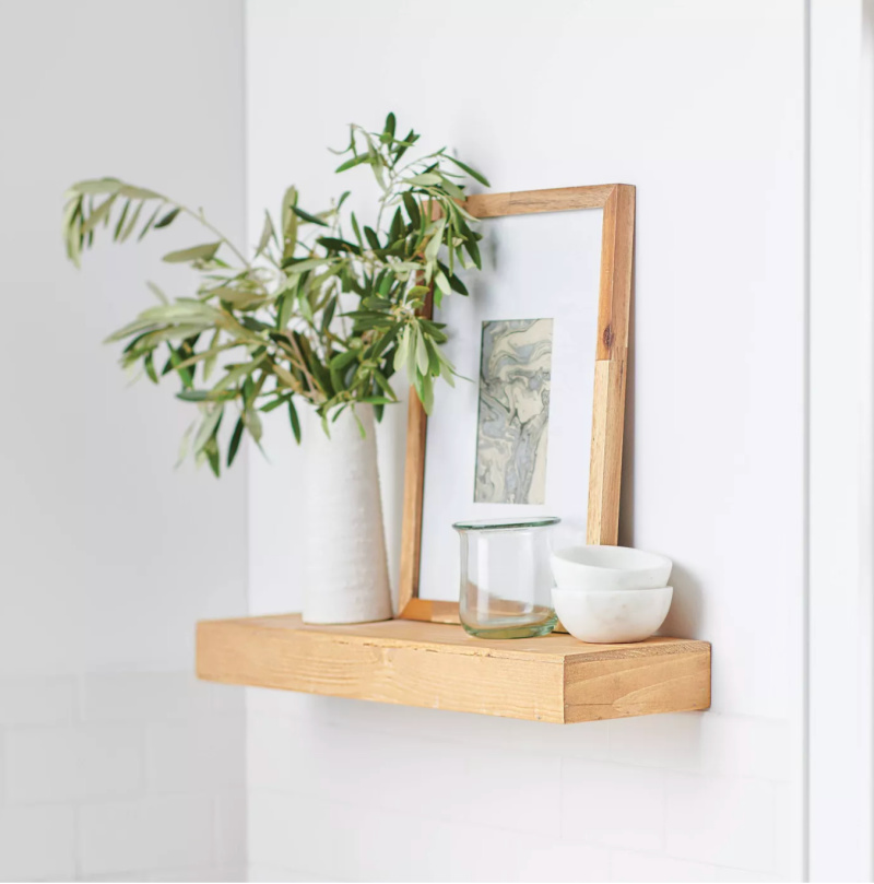 These floating wood shelves are an amazing price!
