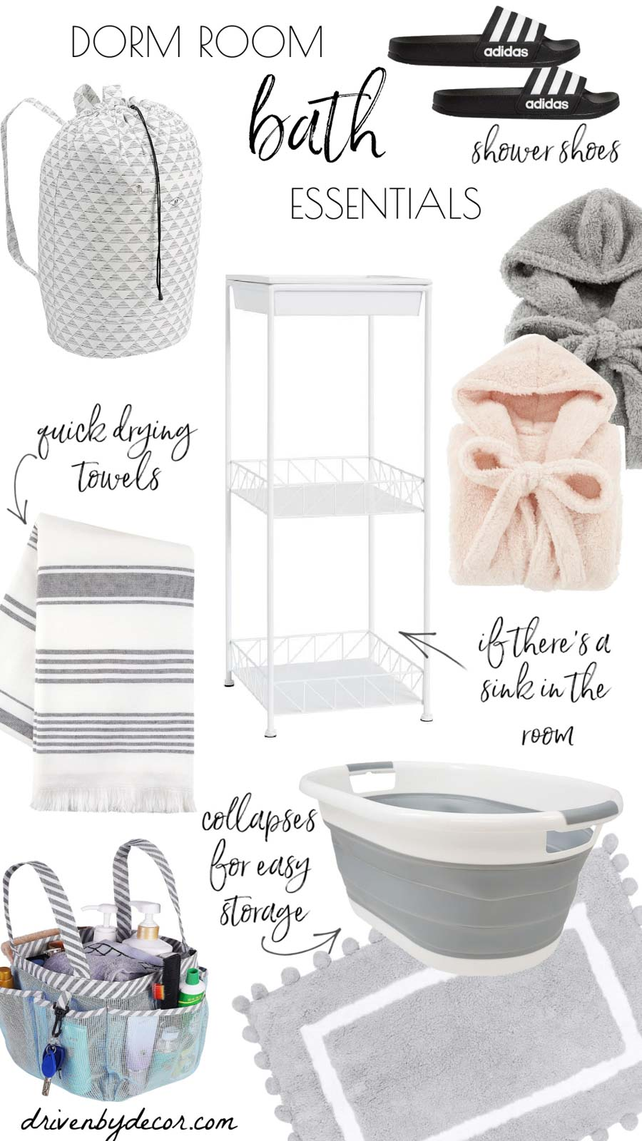 The dorm room essentials you need for laundry and the bath!
