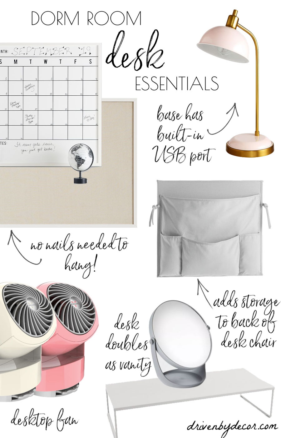 All the essentials you need for your dorm room desk!