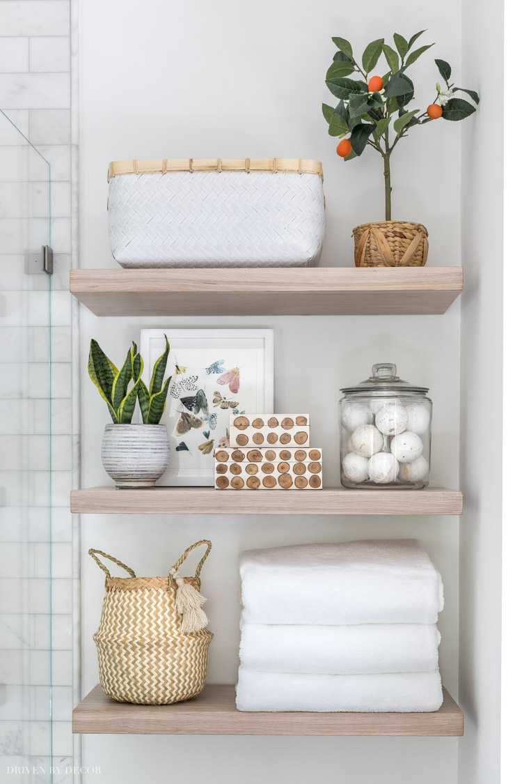 Details on our floating wood shelves in our bathroom and kitchen!