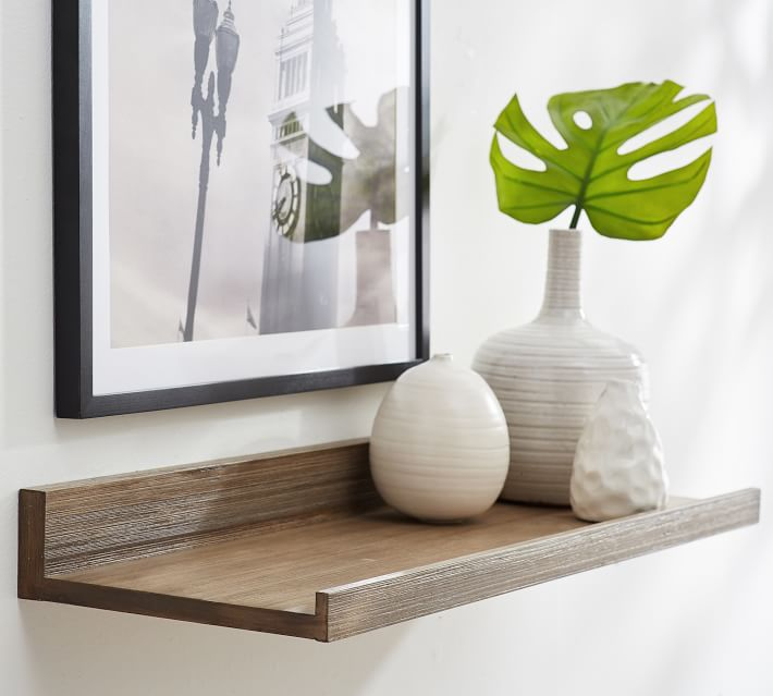 Love these floating wood ledge shelves in lots of finish options!