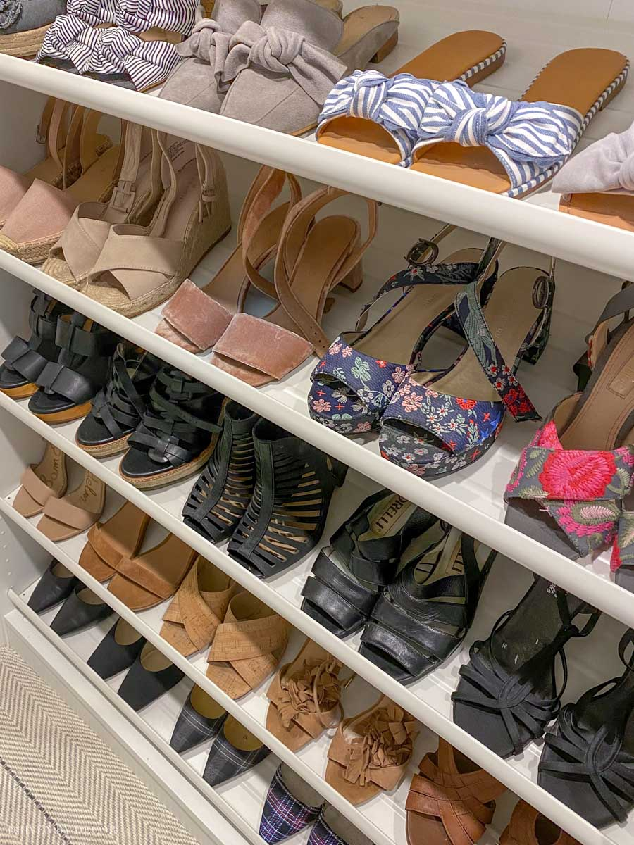 Such an awesome way to store shoes - these are IKEA KOMPLEMENT shoe racks! See the rest of her IKEA closet too!
