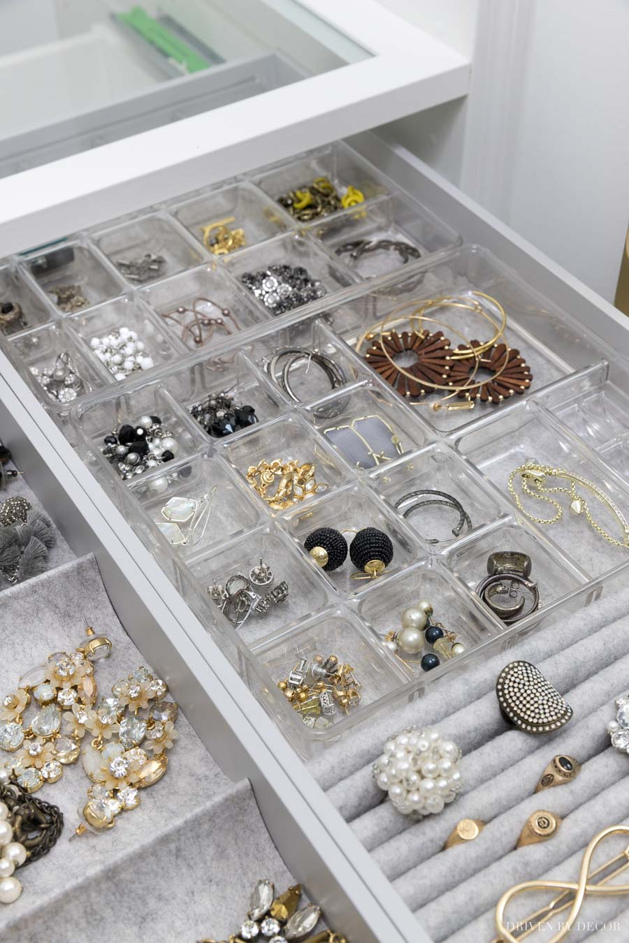 These smaller plastic organizers were a perfect fit in my IKEA PAX drawers for holding my earrings and other smaller jewelry!
