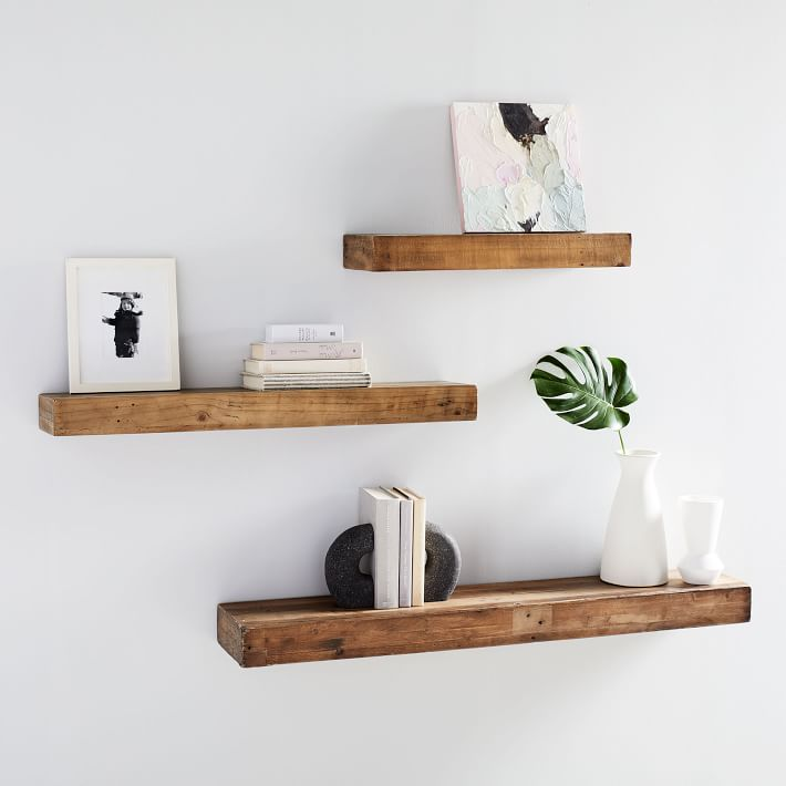 Reclaimed wood floating shelves that come in three length options