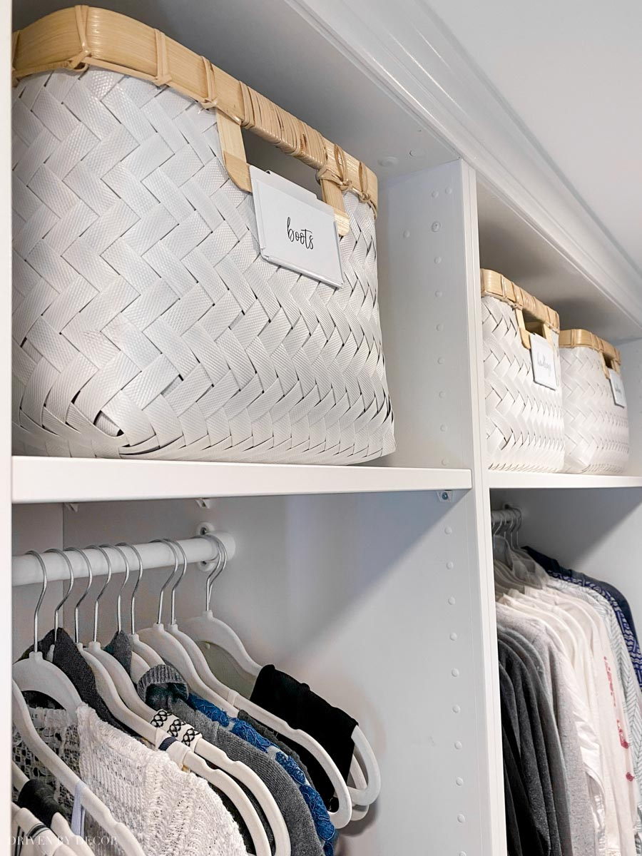 Love these large storage baskets she used in the design of her IKEA PAX closet!