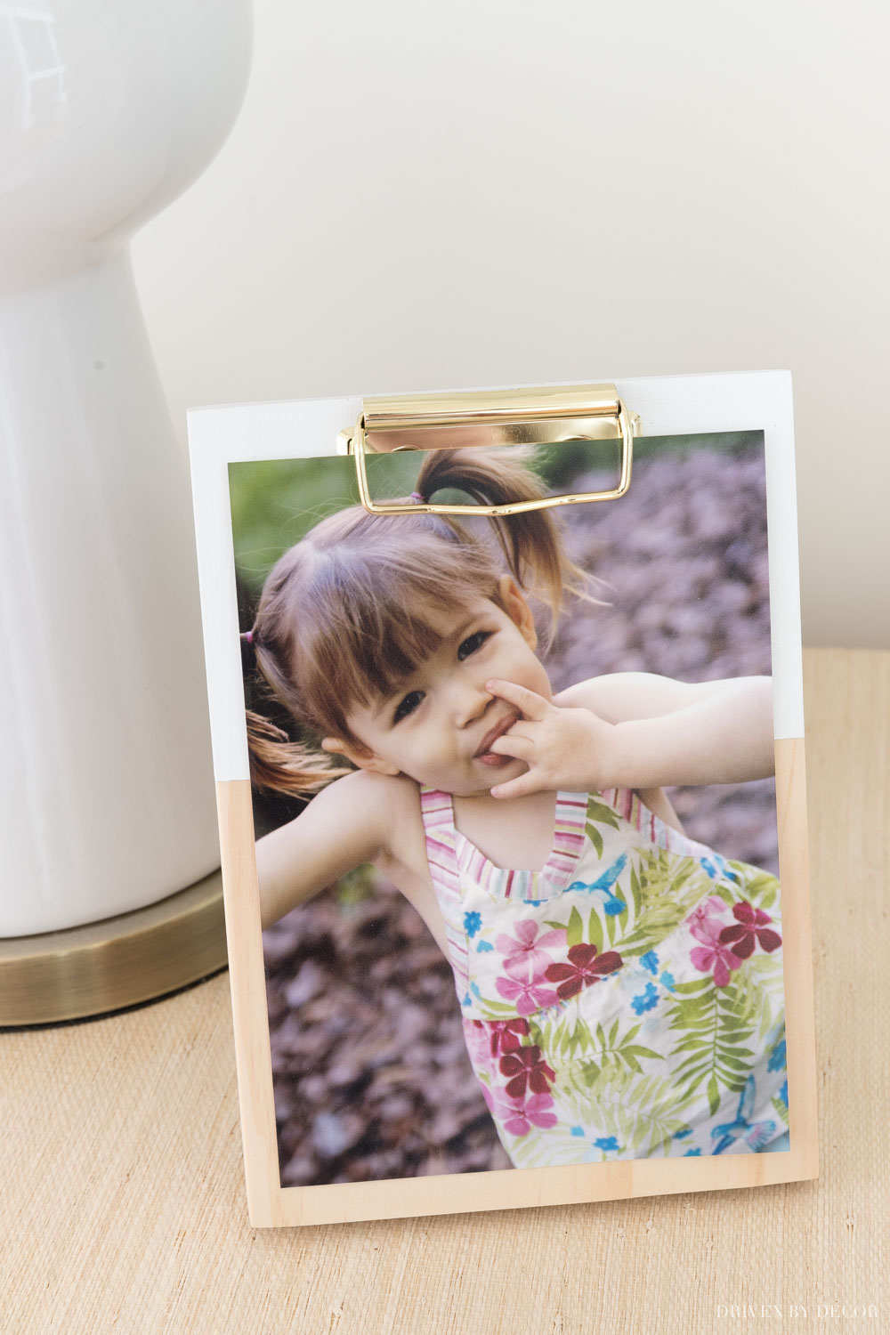 This wood clipboard with stand is the cutest for displaying a photo!