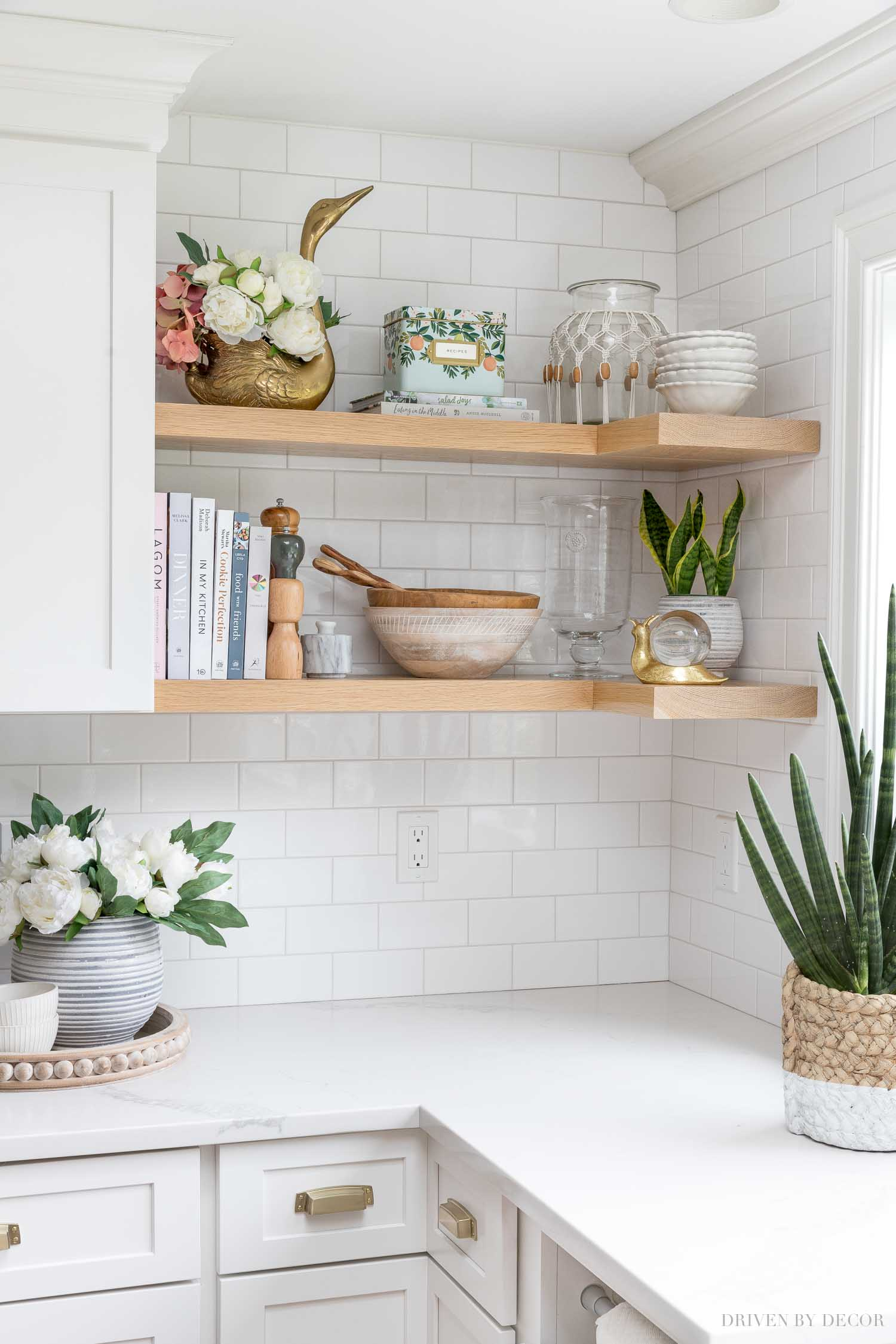 The open shelving in our kitchen - love the accessories including several Amazon finds!