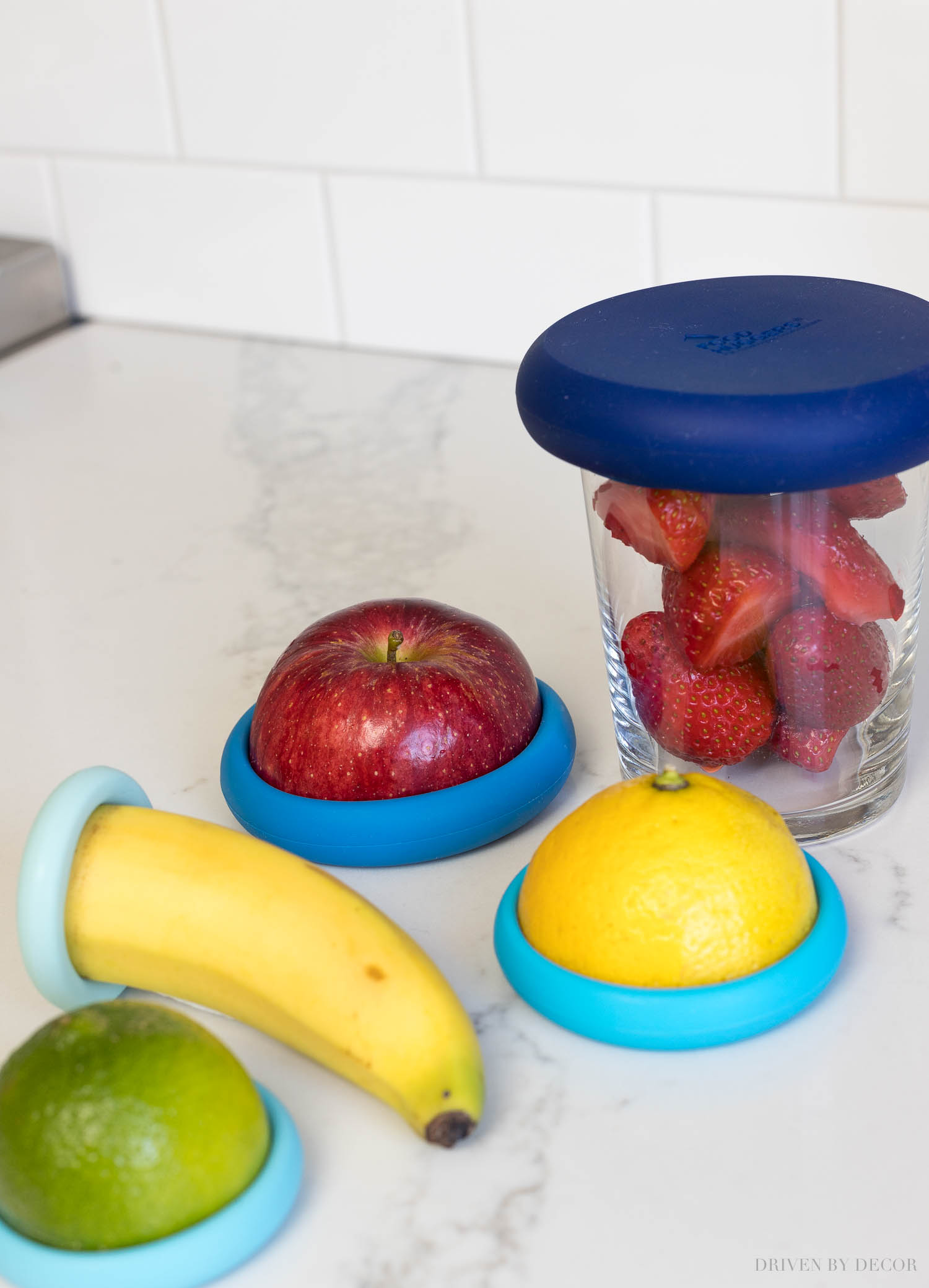 These reusable food huggers are the best for storing cut fruits and veggies!