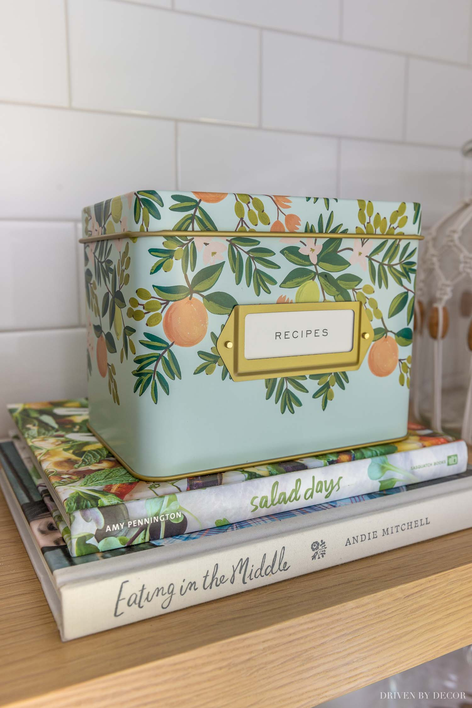 The cutest recipe tin that is perfect for storing small kitchen accessories!