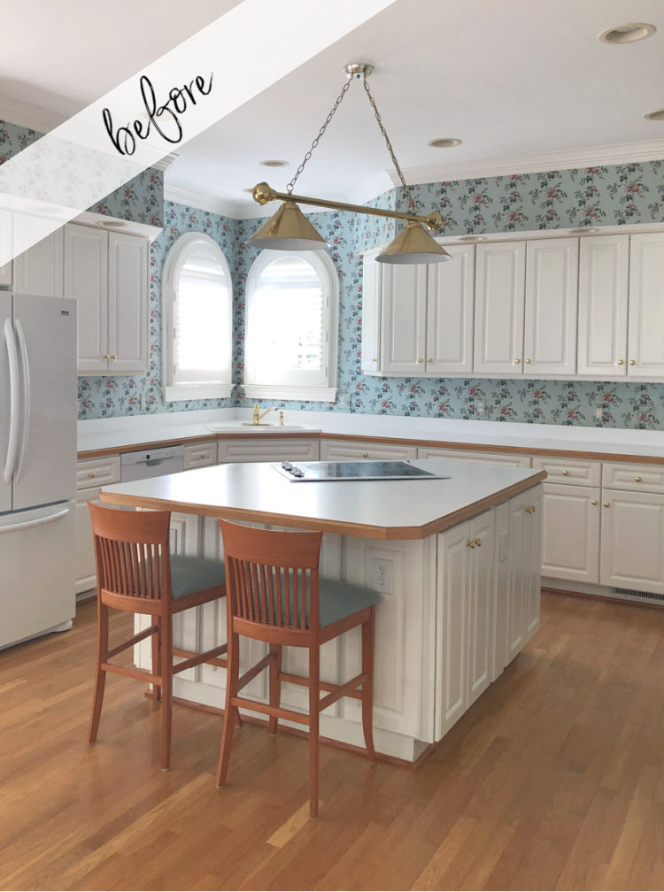 Before our budget friendly kitchen remodel with wallpaper backsplash!