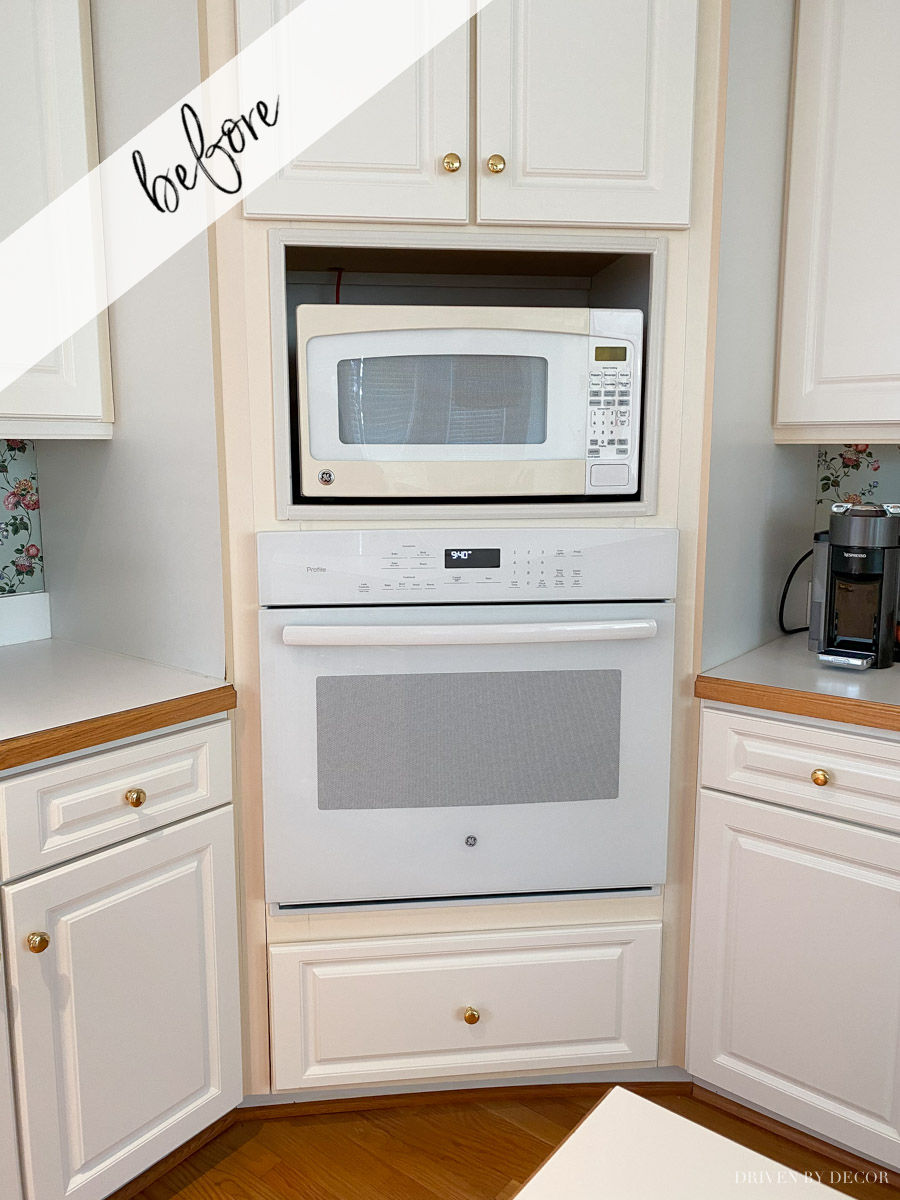 The trim around our cabinets was yellowed before we fixed it with paint!