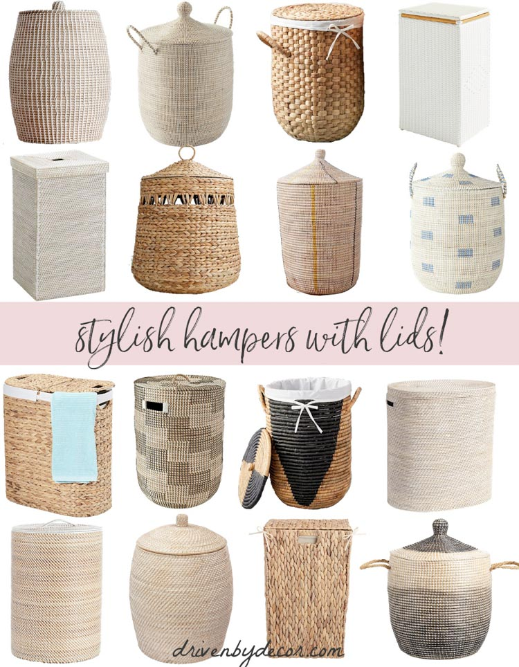 Stylish laundry hampers with lids! A round-up of my faves!