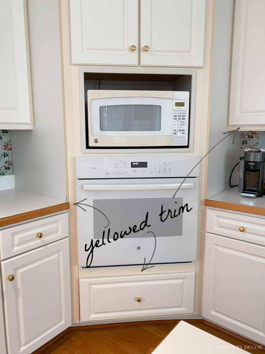 How we fixed the yellowed trim around our kitchen cabinets!