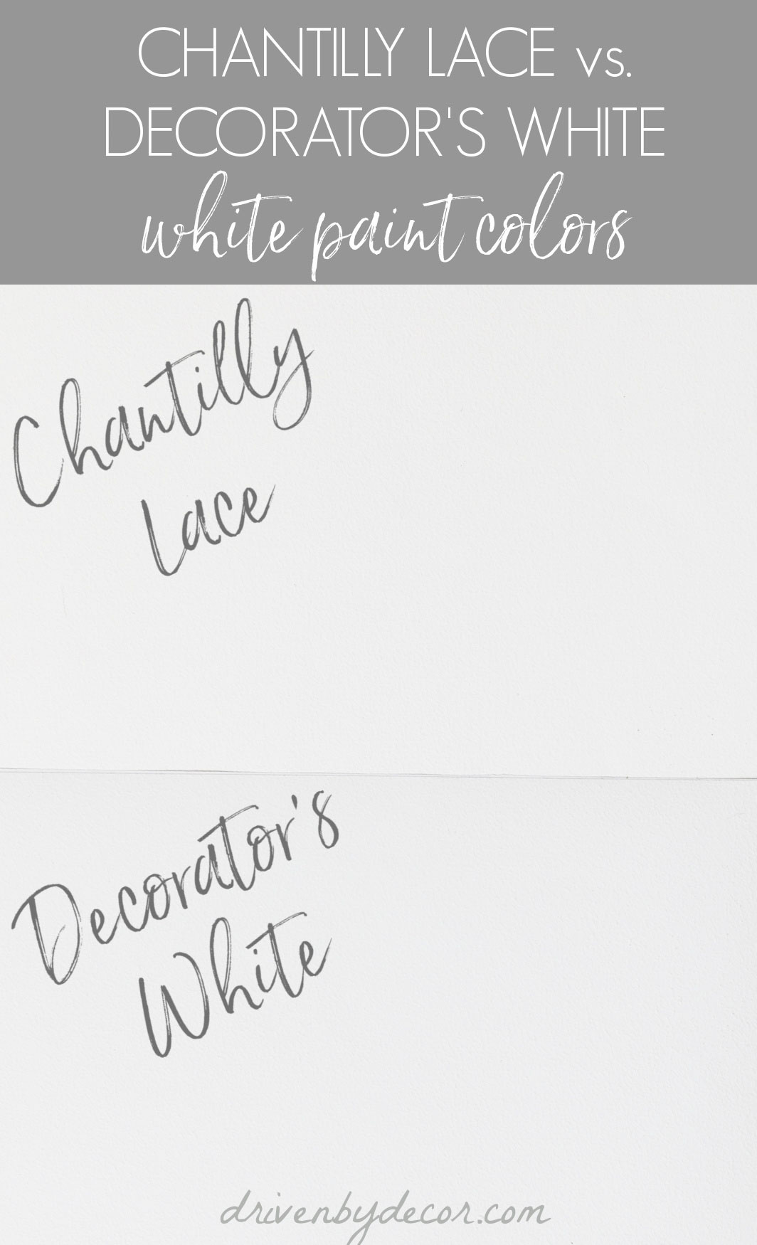 Benjamin Moore Chantilly Lace versus Decorator's White paint colors