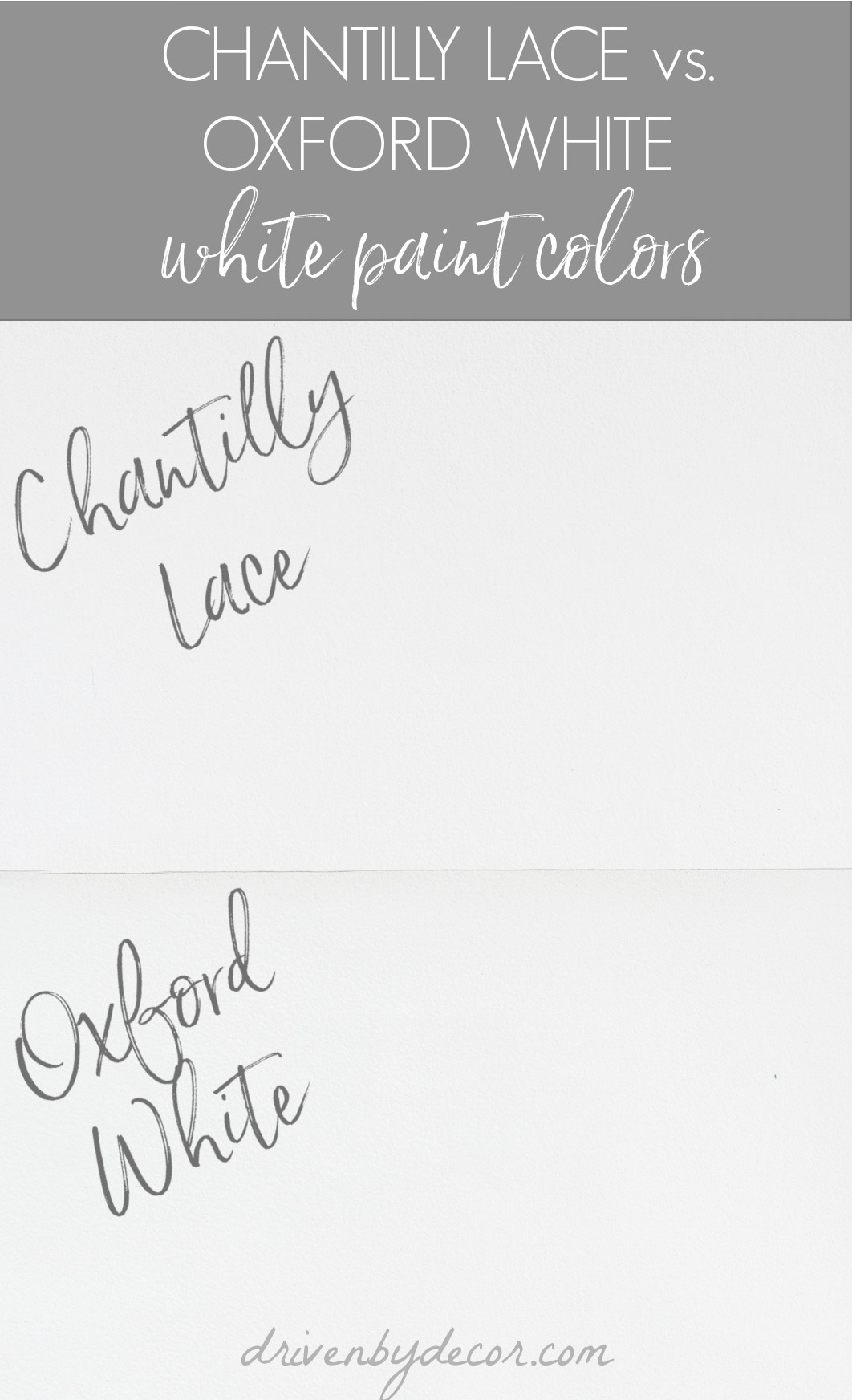 Benjamin Moore Oxford White versus Chantilly Lace paint colors