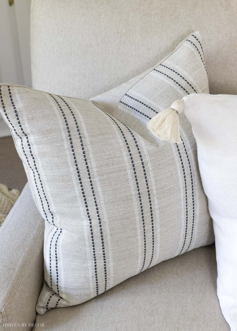 Love this fall pillow with neutral stripes!