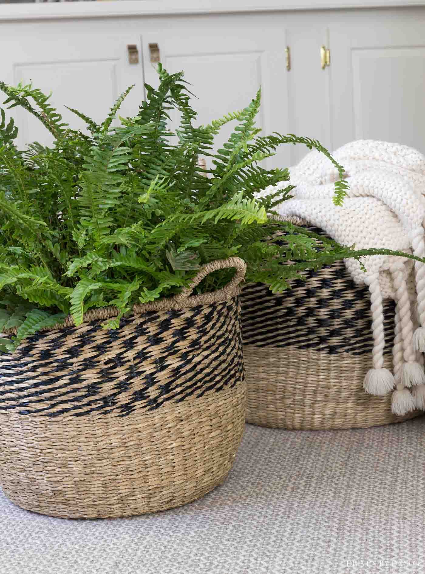 This pair of woven baskets is perfect fall decor for our family room!