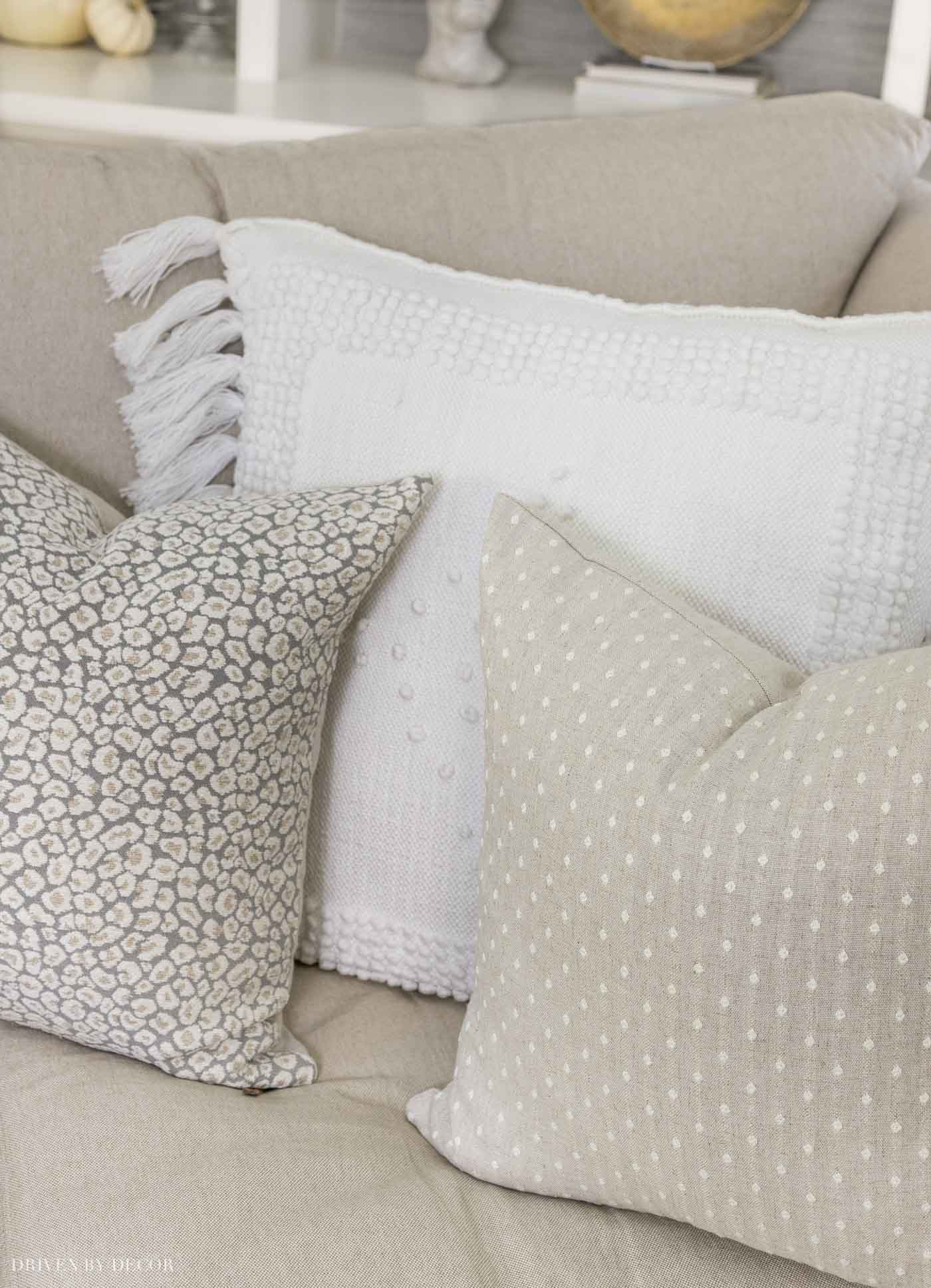 The trio of fall pillows on the corner of our sectional - love!