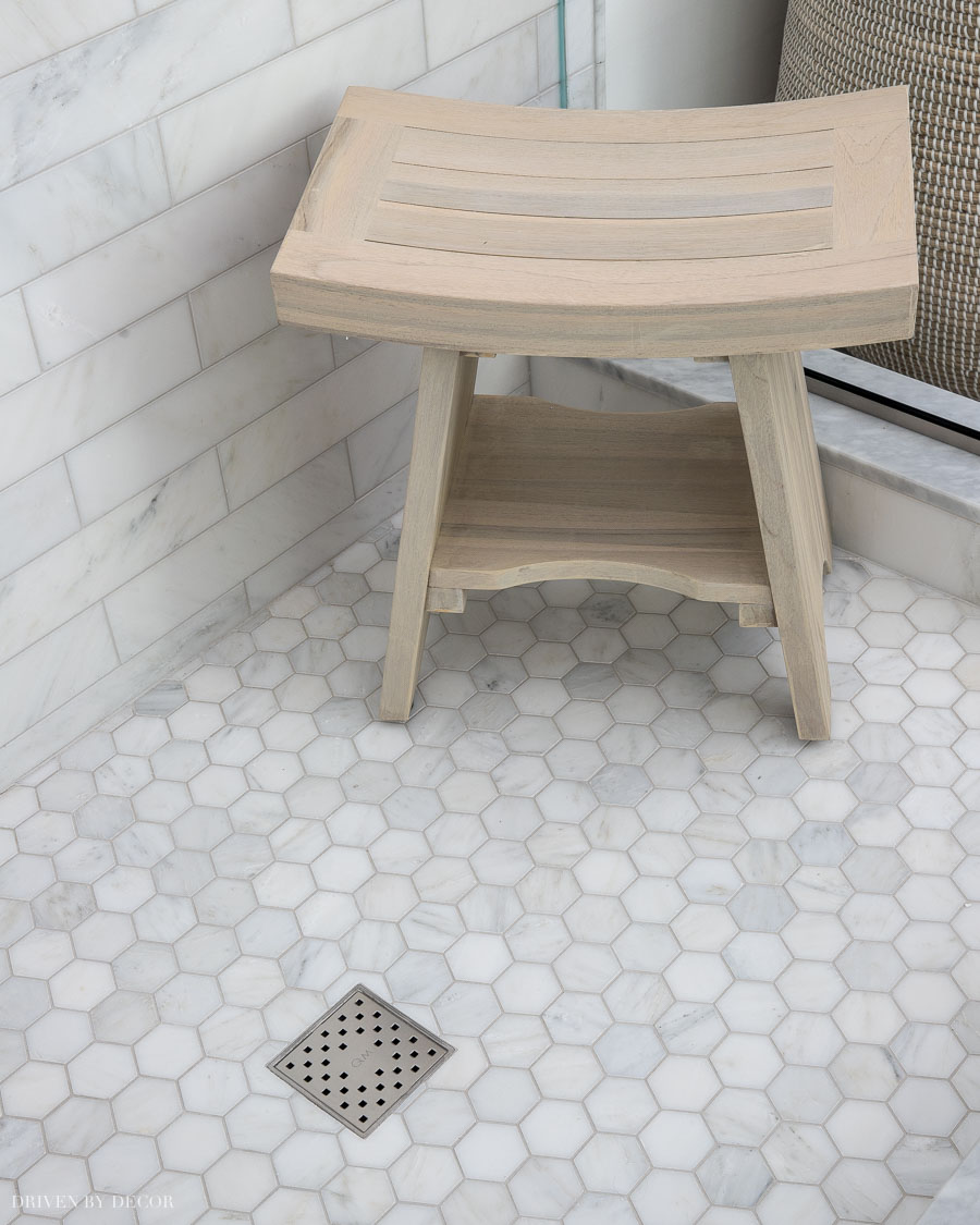 The driftwood teak bench in our shower - love!