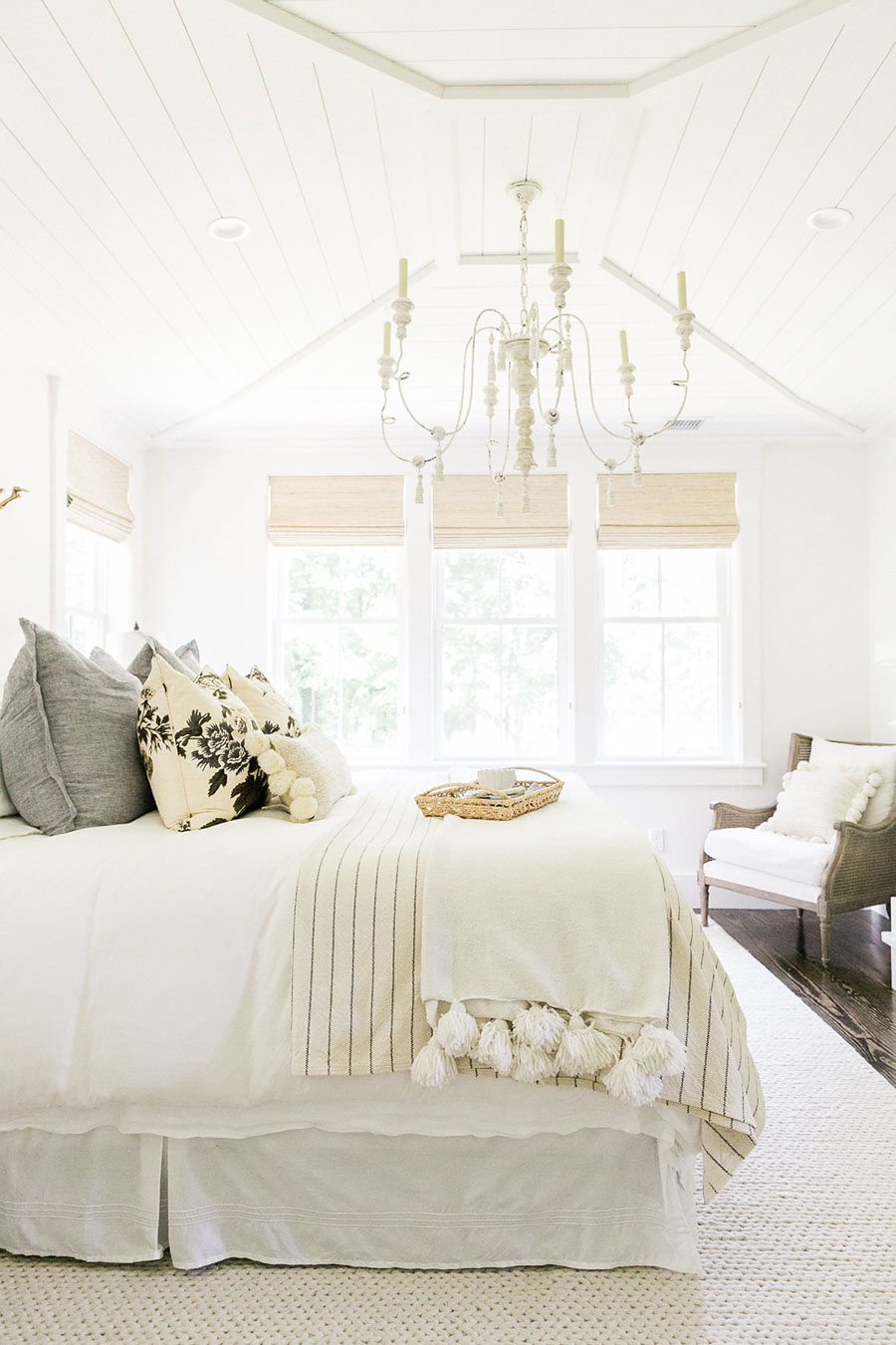 Love the angled, planked ceiling in this master bedroom by Finding Lovely
