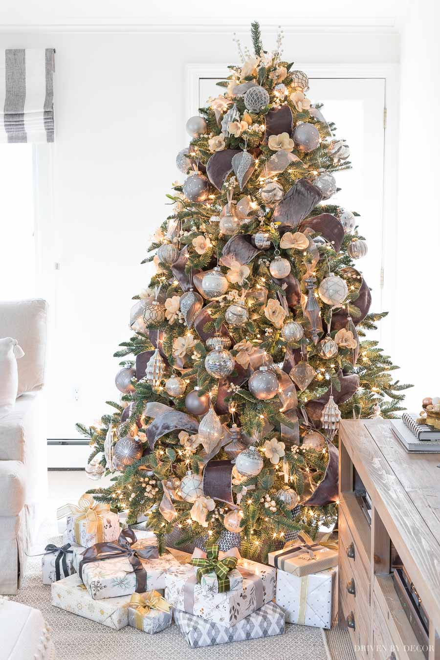 This faux Christmas tree is a favorite - SO full and realistic!