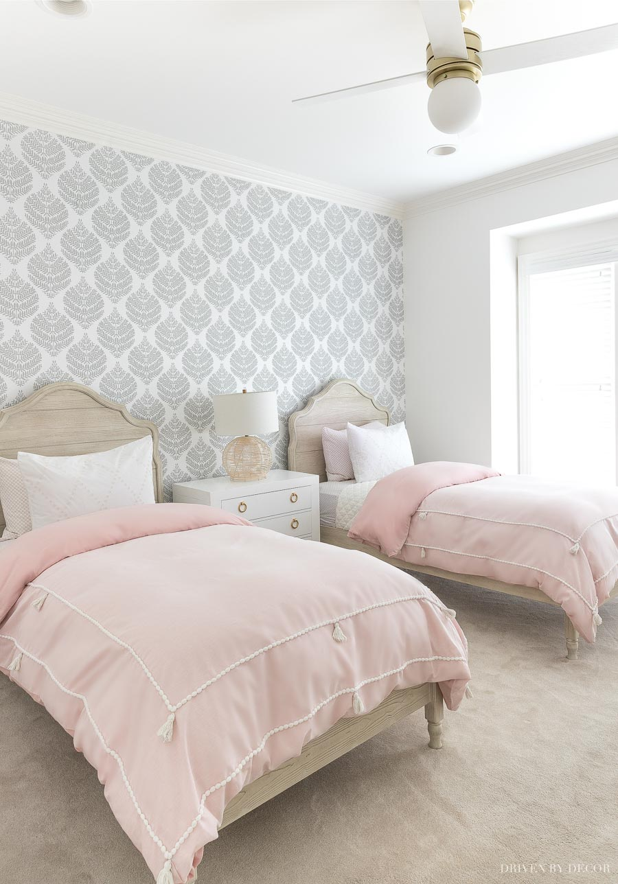 Love the peel and stick wallpaper she used in this bedroom!