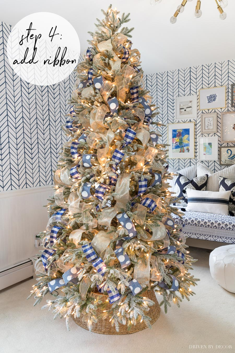 Love the ribbon on this Christmas tree! She shows you exactly how to do it in this post!