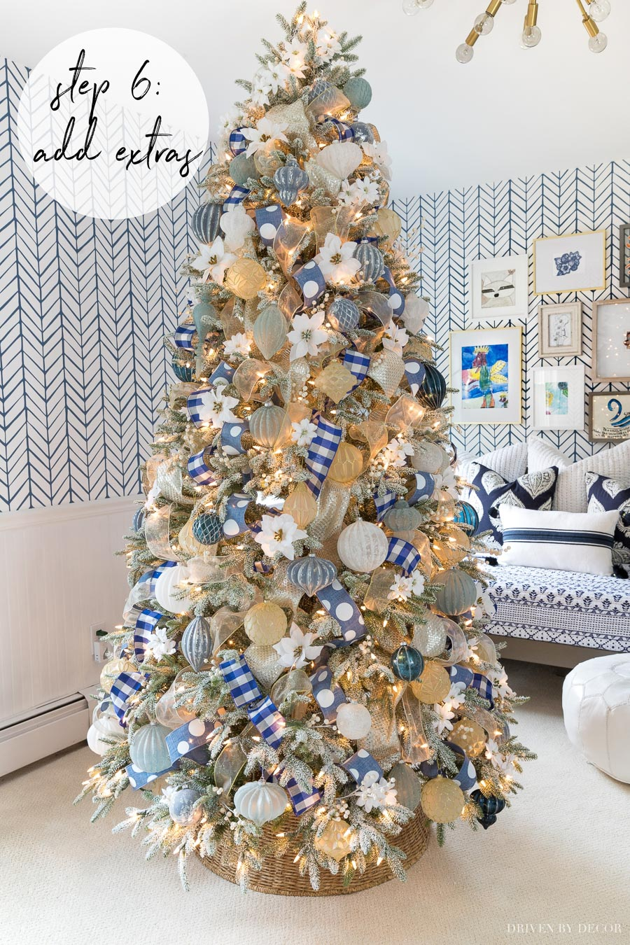 Love how she added the flowers and berries to her Christmas tree! Great how-to post!