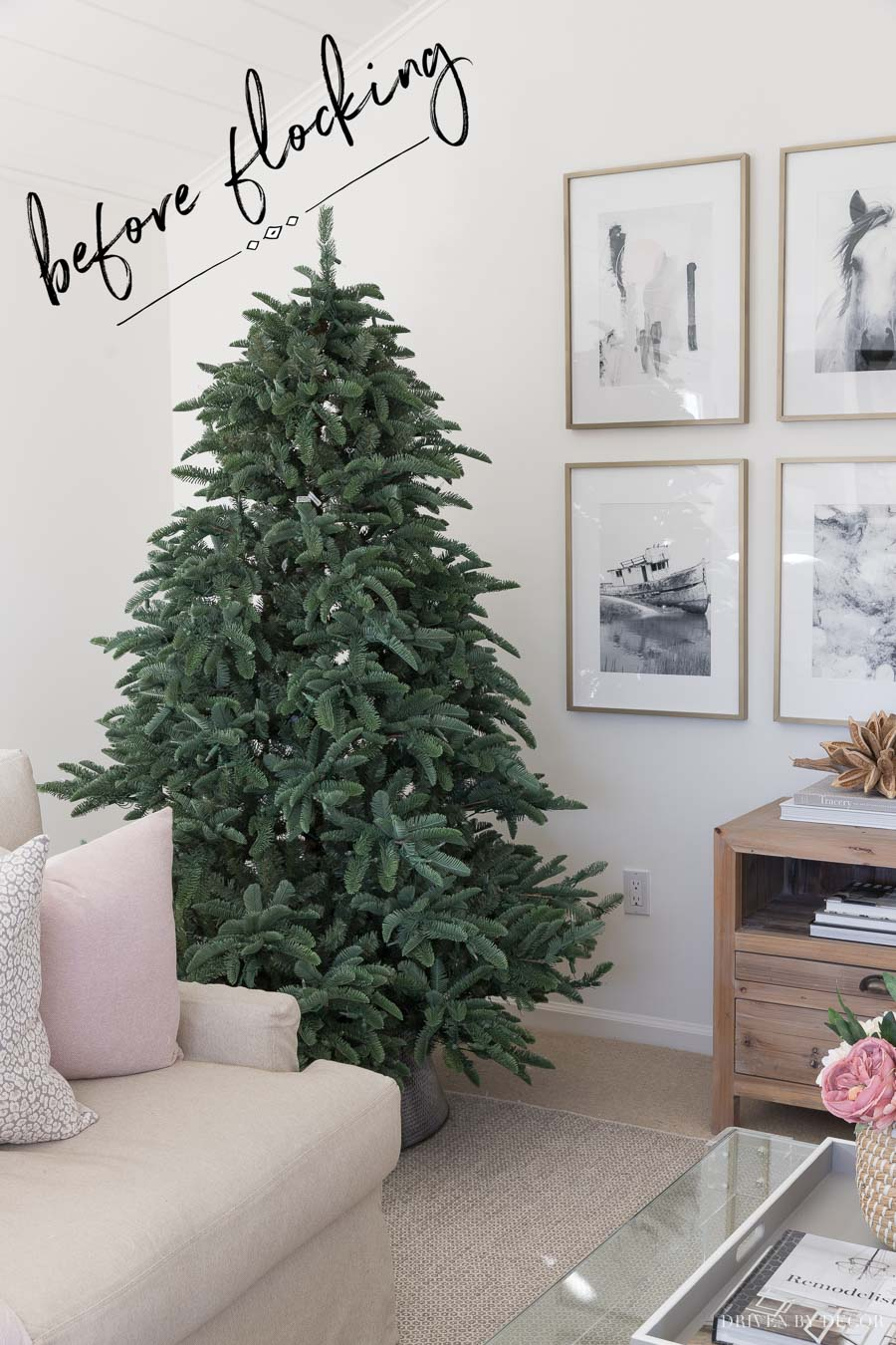 Our Christmas tree before we flocked it! This post shows exactly how to do it!