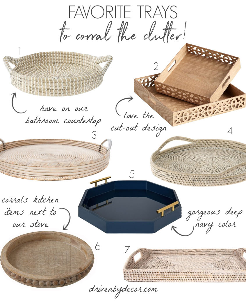 Love these decorative trays - perfect for corralling the clutter!