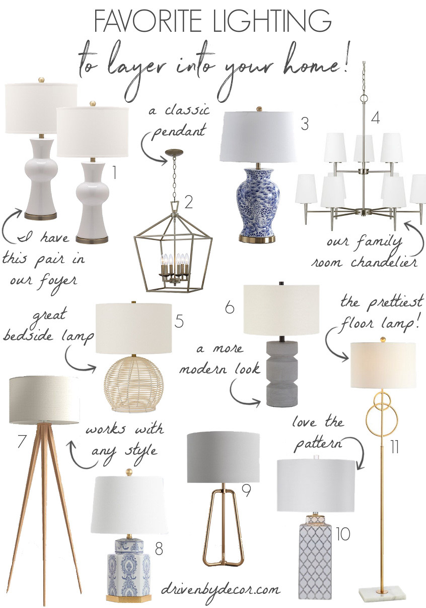 Gorgeous lamps, pendants, and chandeliers for adding layered lighting to a space!