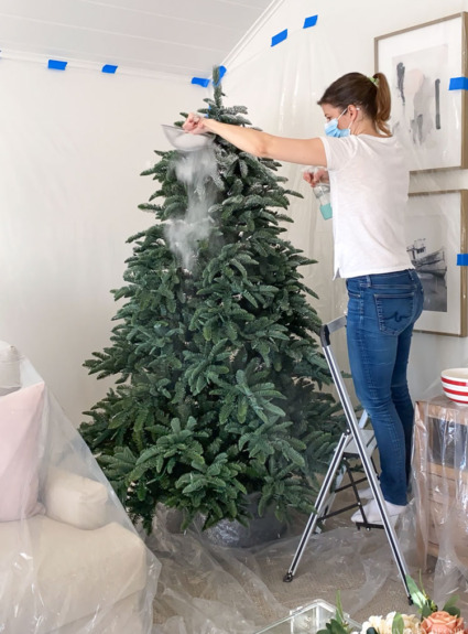 How to Flock a Christmas Tree Step by Step!