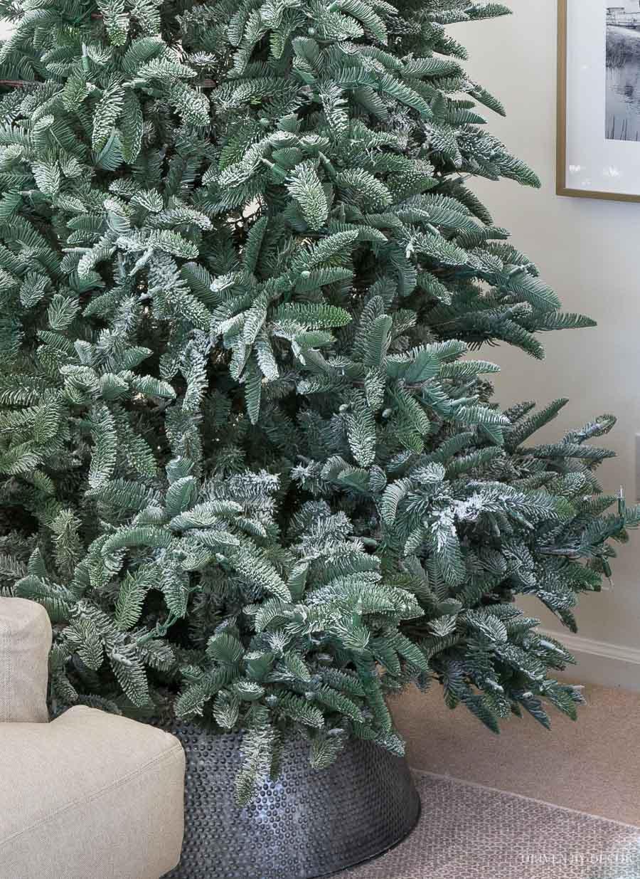 My Christmas tree after I added flocking powder to it - so pretty!