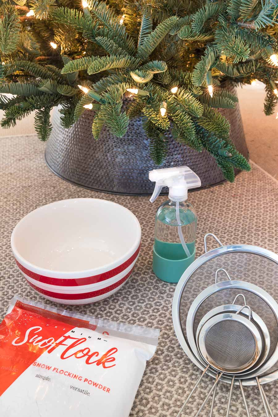 The supplies you need to flock a Christmas tree - the post has a great step by step!