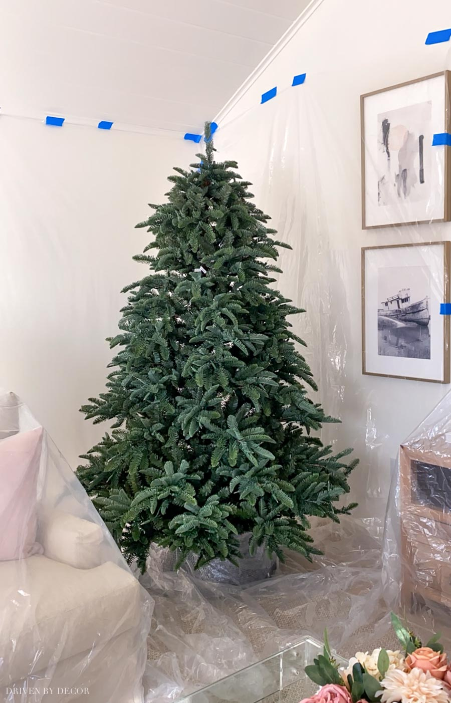 If your flocking your Christmas tree inside, cover your nearby walls and furniture with plastic to protect them!