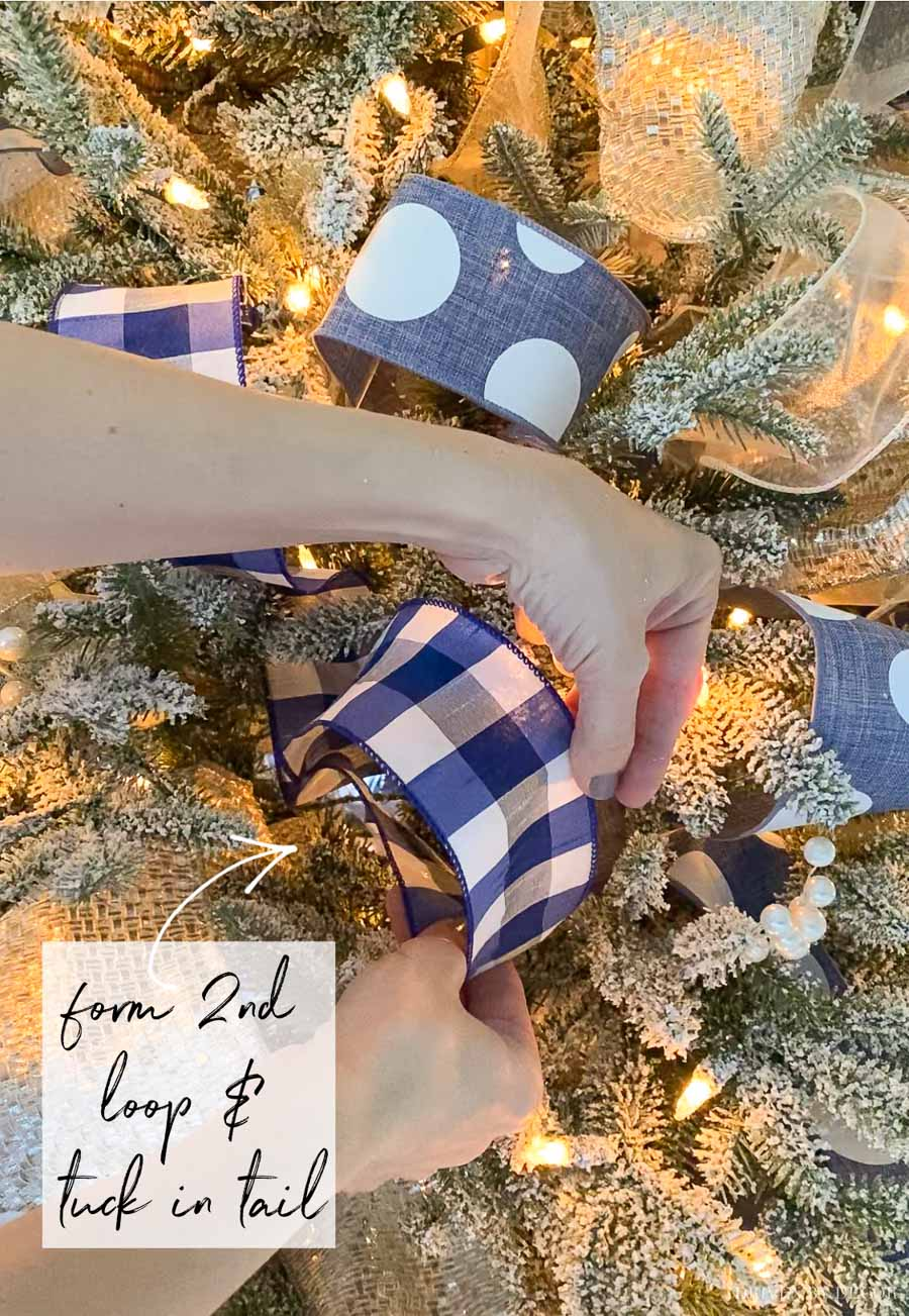 Get the look of a professionally decorated Christmas tree with ribbon!