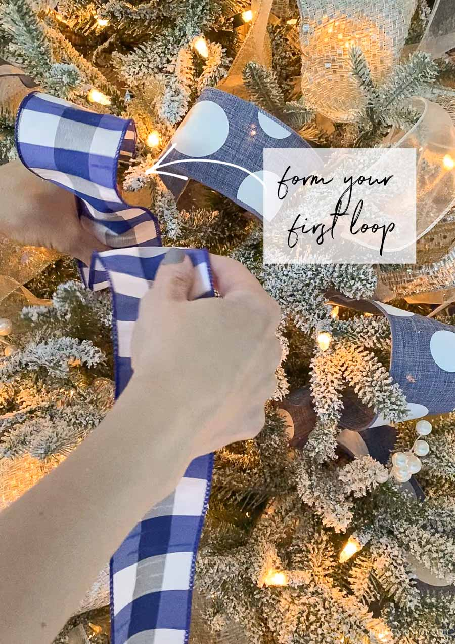 Putting ribbon on a Christmas tree - a step by step how-to!