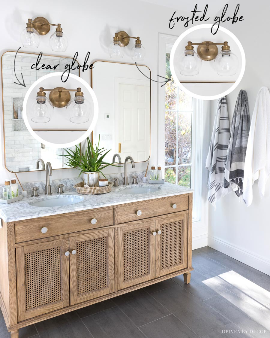 Love the look of these globe bulbs in bathroom vanity lights!