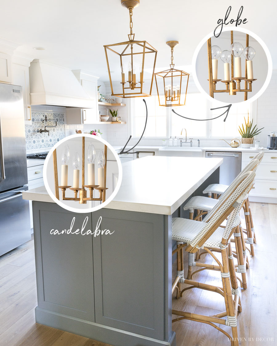 Love the idea of changing out the light bulbs for these stylish globe bulbs!