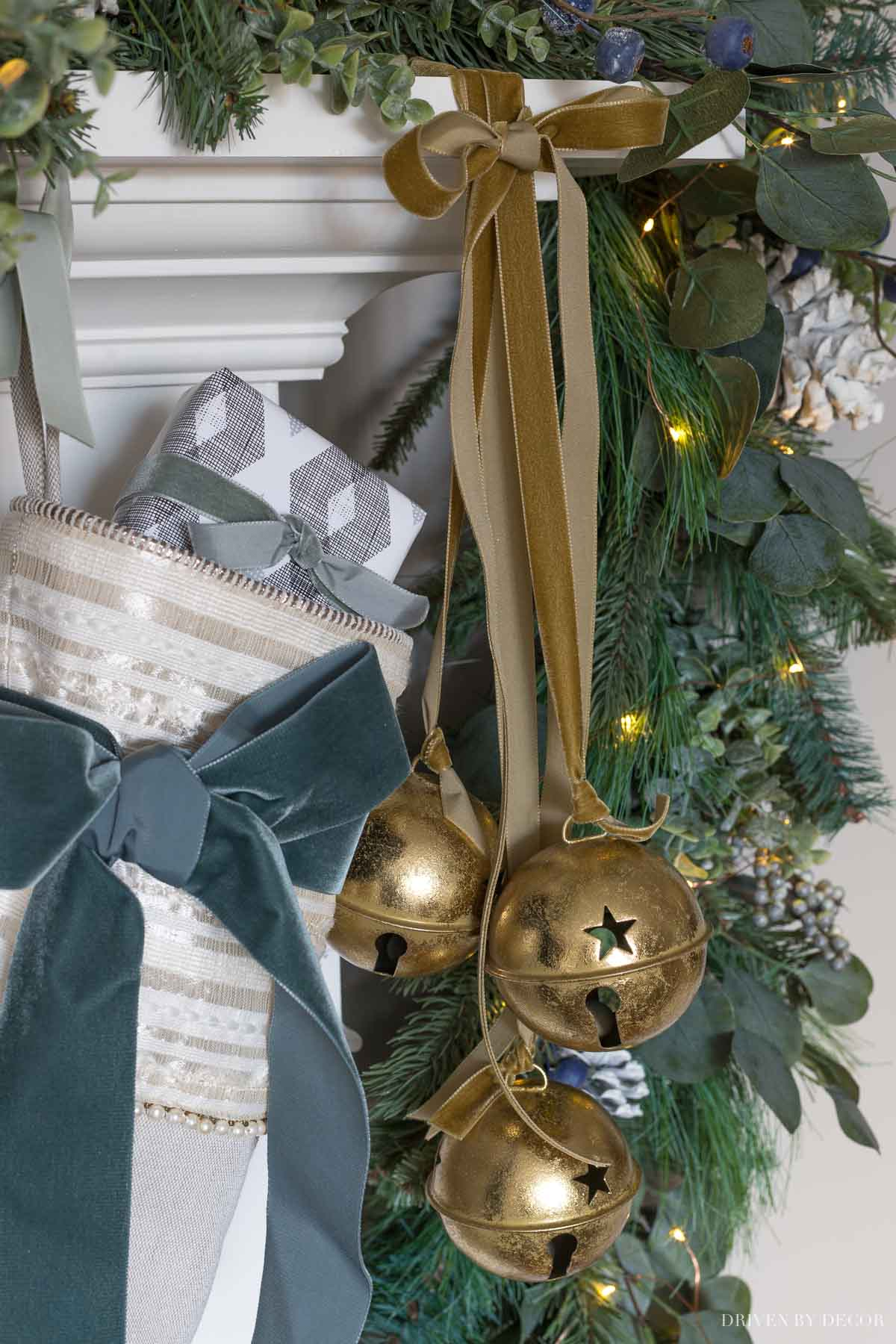 Love these large gold jingle bells for Christmas decorating!