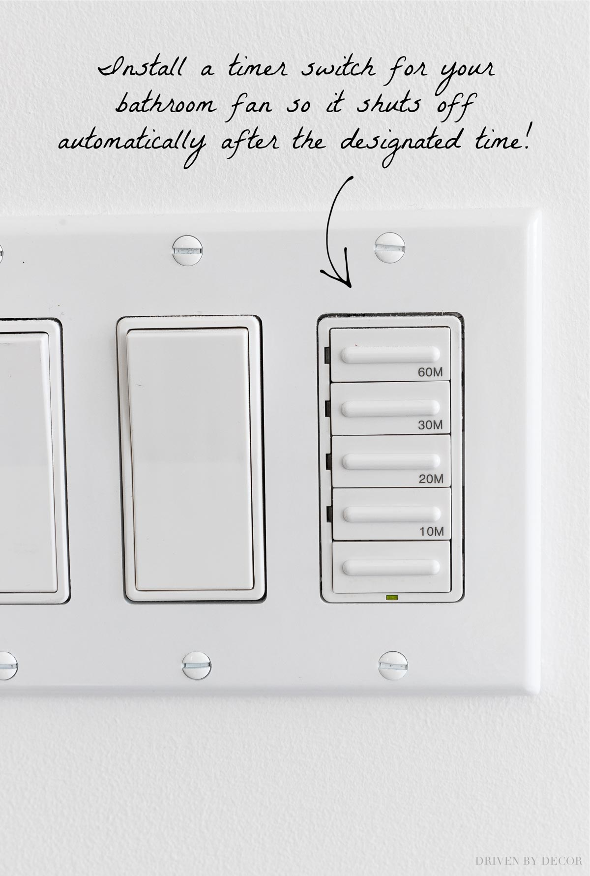 Brilliant! Love this fan timer switch - a great master bathroom remodel idea I'm going to steal!
