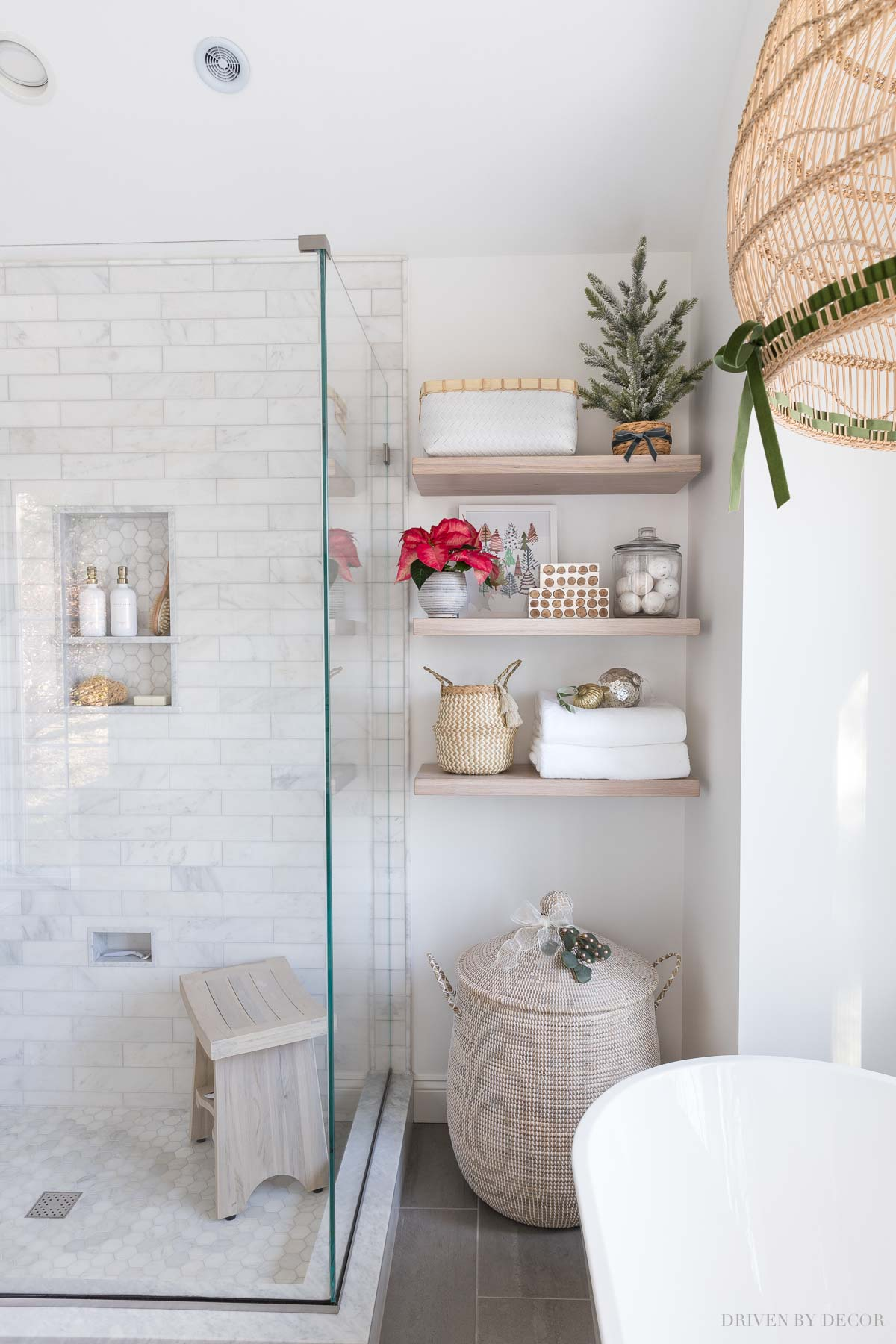 Gorgeous floating shelves! Love this idea for a master bathroom remodel!