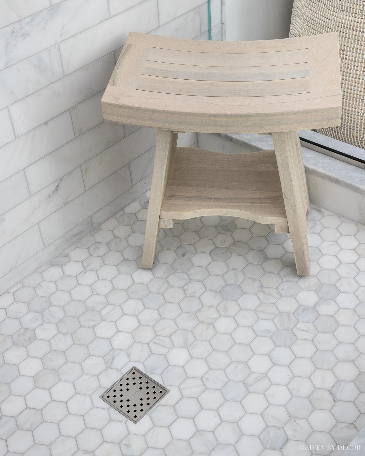 Love the idea of a freestanding shower bench instead of a more expensive built-in one for a master bathroom remodel!