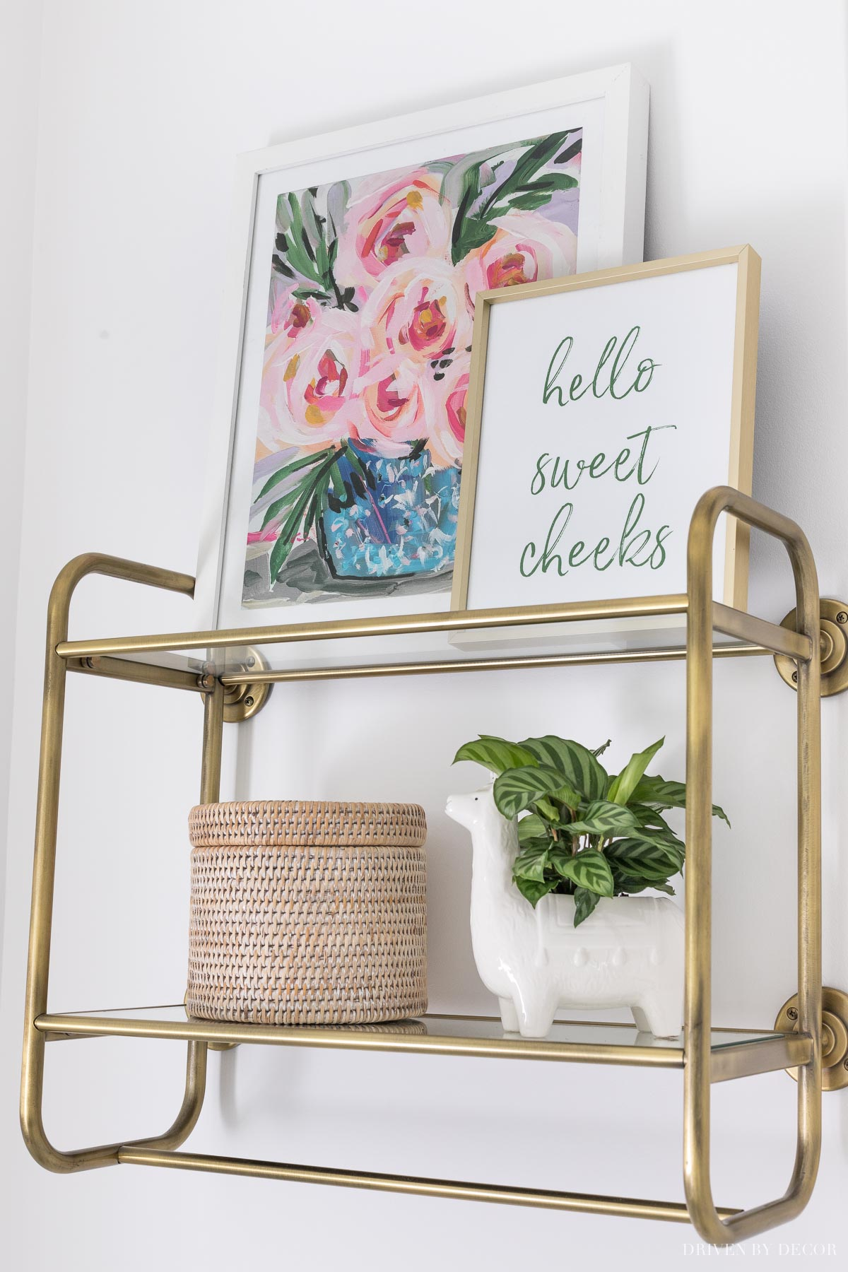Love the idea of a wall shelf like this over the toilet in the master bathroom!