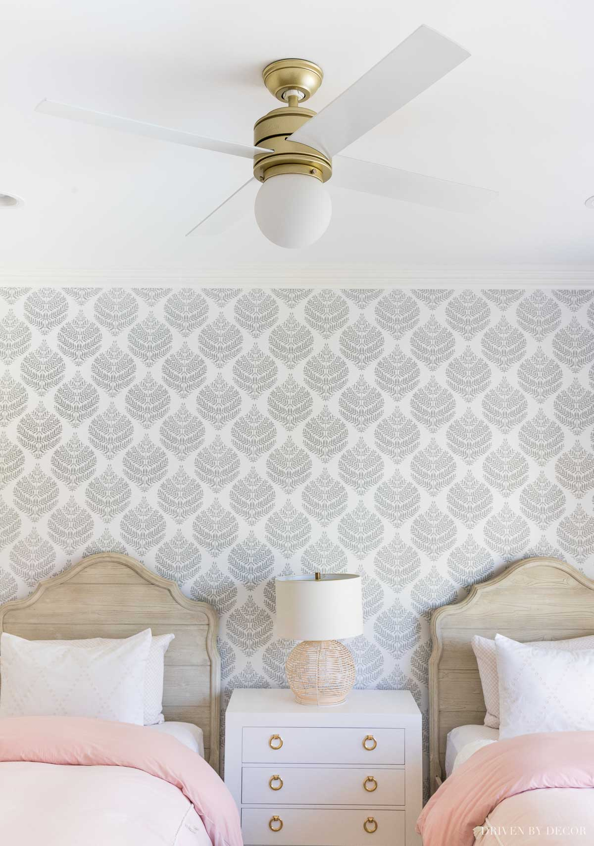 Love this stylish ceiling fan I added to my girls' bedroom