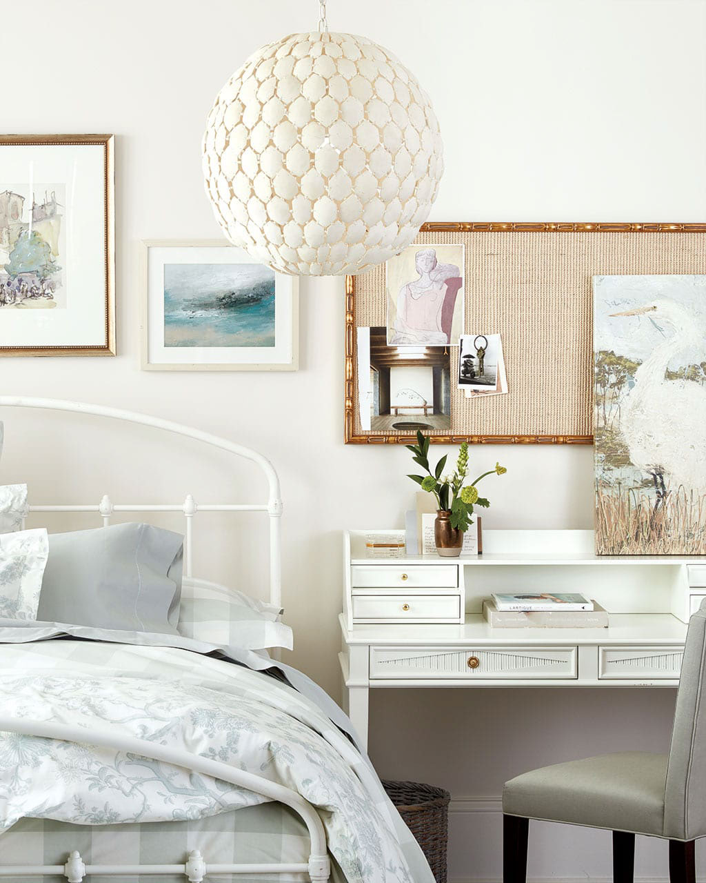 Double duty decor is a 2021 design trend such as this desk that's also used as a nightstand!