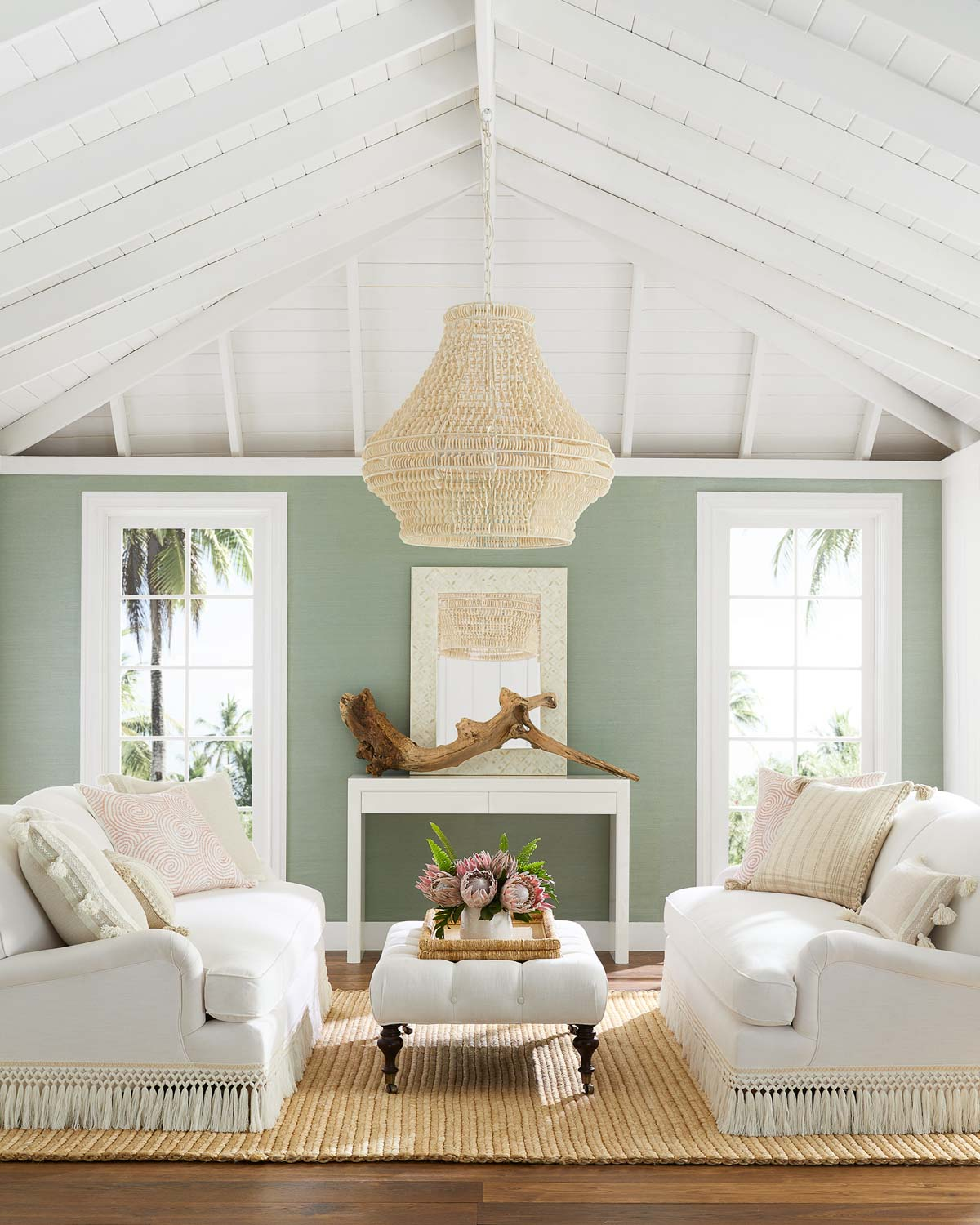 2021 design trends - LOVE the fringe on these gorgeous sofas!