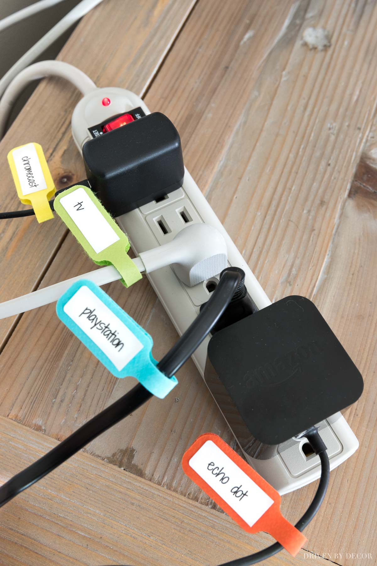 Love these velcro cord labels for easily knowing which cord goes where!