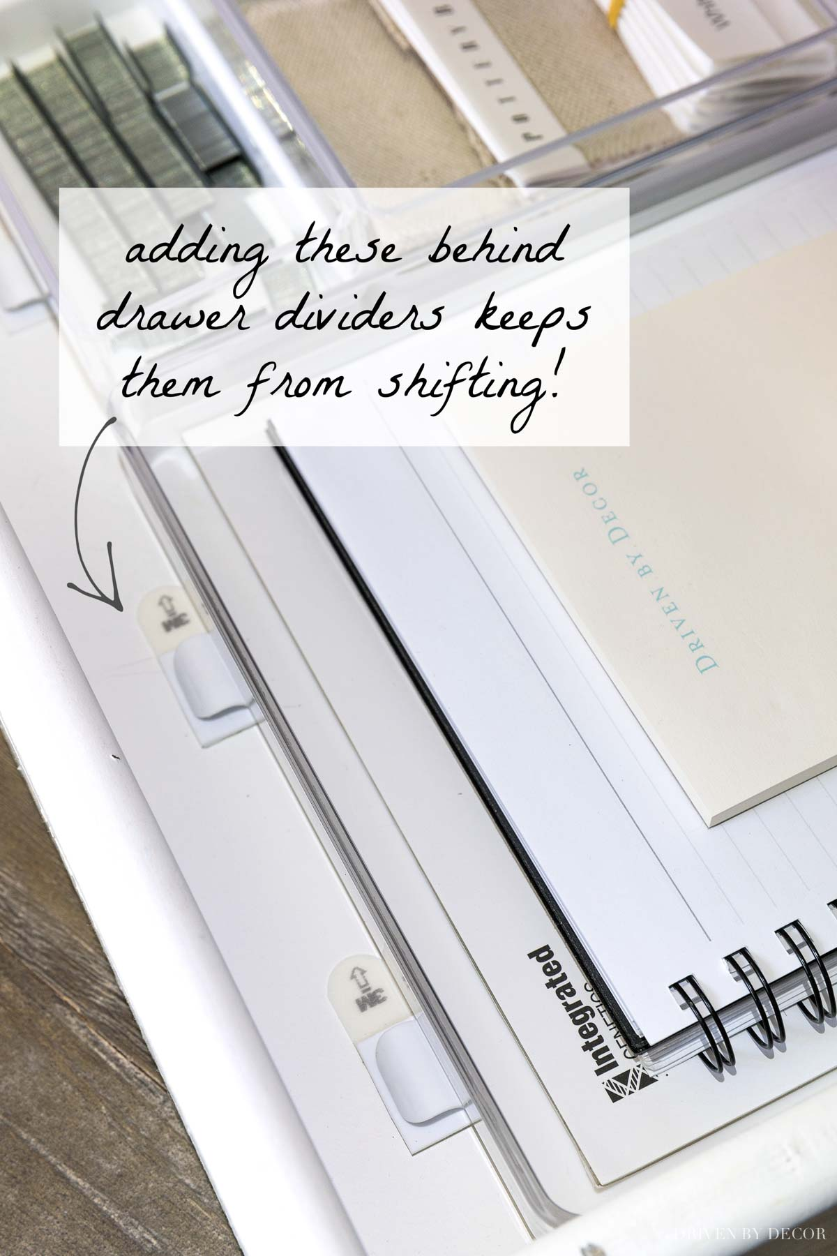 Love this tip for keeping drawer dividers from shifting when you open and close your drawer!