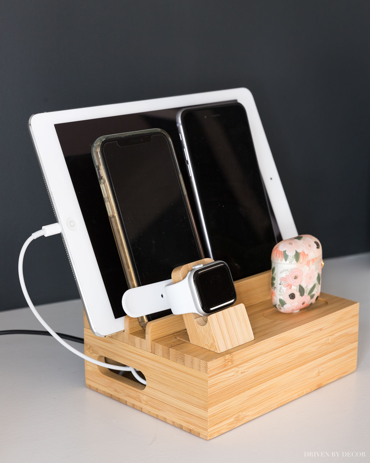 Our electronics organizer and charging station - helps so much with cord clutter!